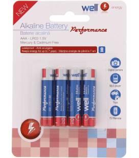 Baterie alcalina 1.5V R3 (AAA) 4 buc Well
